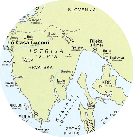 Kaart Istrië Kroatië